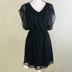 Black Rainn Black Dress Sheer Layer/ Lined Size S